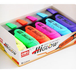 ORO 6 Colors HiGlow Highlighter Pack of 12
