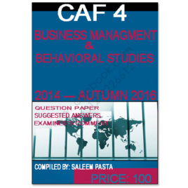 CA CAF 4 Business Management & Behavioural Studies Past Papers 2016