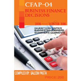 CFAP-04 Business Finance Decision  2006 – winter 2016