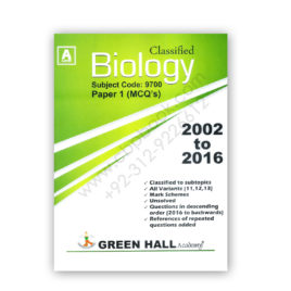 A Level Classified BIOLOGY P1 MCQs 2002 To 2016 – Green Hall Academy