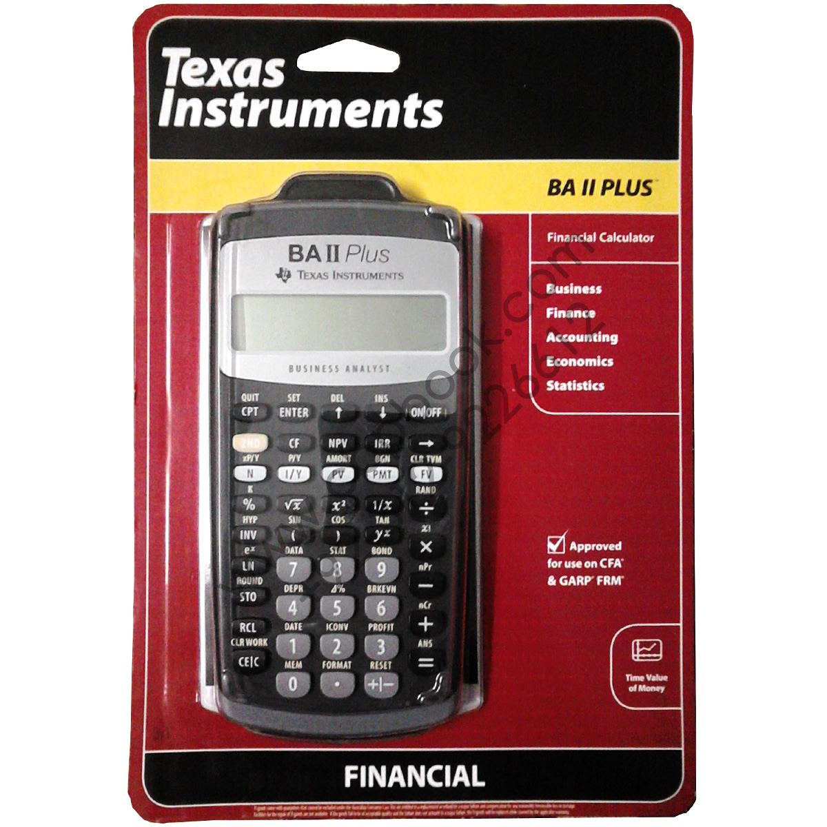 Texas Instruments Financial Calculator ba 2 plus approved for use on cfa and garp frm