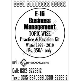 CA E 16 Business Management Topic Wise Practice and Revision Kit